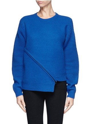 Main View - Click To Enlarge - Opening Ceremony - Slash zip alternate wool knit sweater