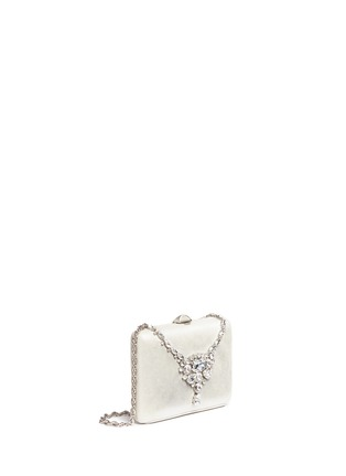 Detail View - Click To Enlarge - RODO - Jewelled necklace shimmer satin clutch bag