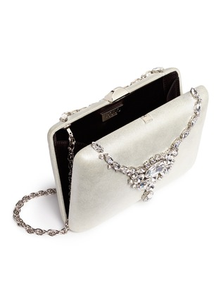 - RODO - Jewelled necklace shimmer satin clutch bag