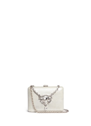 Main View - Click To Enlarge - RODO - Jewelled necklace shimmer satin clutch bag