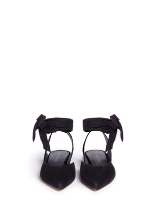 Front View - Click To Enlarge - Stuart Weitzman - 'Supersonic' wraparound ankle tie flats