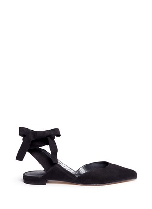 Main View - Click To Enlarge - Stuart Weitzman - 'Supersonic' wraparound ankle tie flats