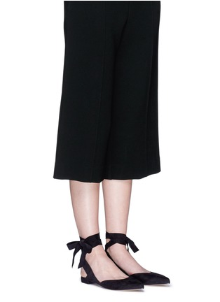 Figure View - Click To Enlarge - Stuart Weitzman - 'Supersonic' wraparound ankle tie flats