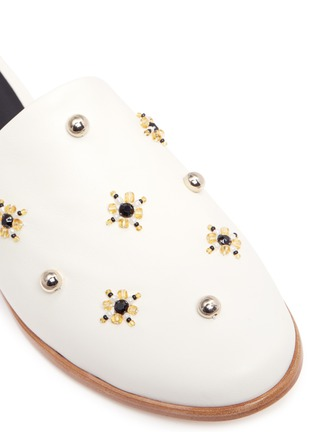 Detail View - Click To Enlarge - Tibi - 'Kirsi' floral beaded leather wedge slide sandals