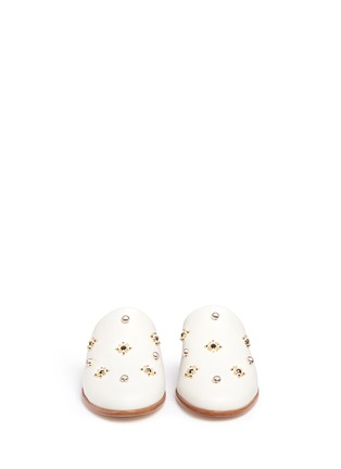 Front View - Click To Enlarge - Tibi - 'Kirsi' floral beaded leather wedge slide sandals