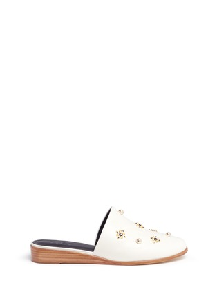 Main View - Click To Enlarge - Tibi - 'Kirsi' floral beaded leather wedge slide sandals