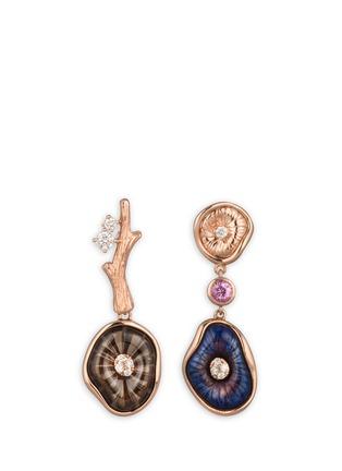 Main View - Click To Enlarge - Heting - 'Mushroom' diamond smoky quartz 18k rose gold asymmetric earrings
