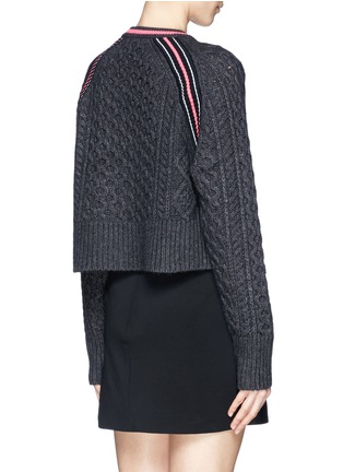 Back View - Click To Enlarge - T By Alexander Wang - Cropped cable knit sweater