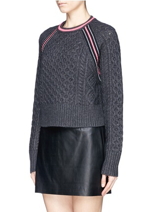 Front View - Click To Enlarge - T By Alexander Wang - Cropped cable knit sweater