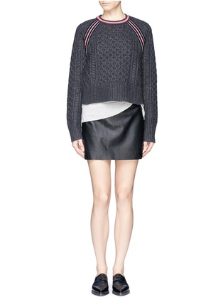Figure View - Click To Enlarge - T By Alexander Wang - Cropped cable knit sweater