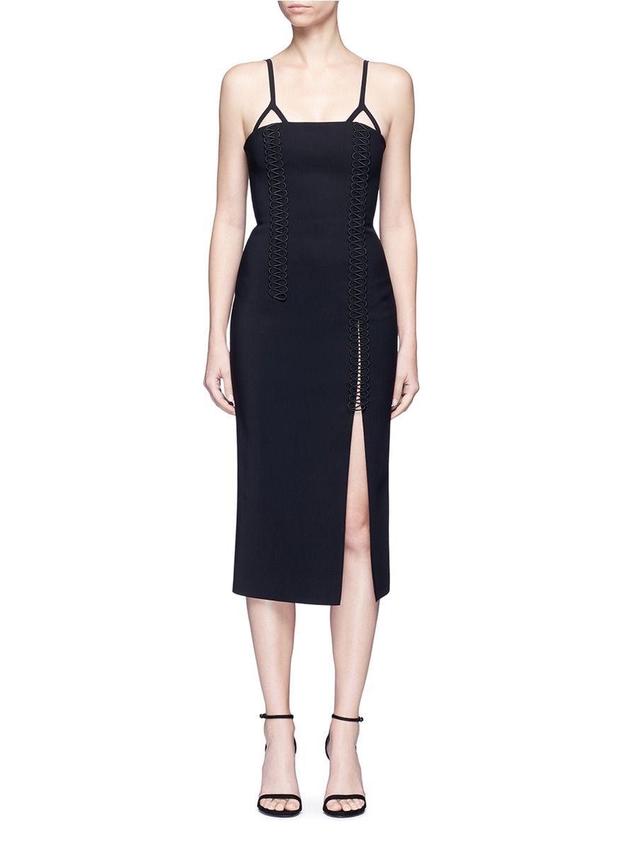 Coil laced elastic cord bustier dress by Dion Lee