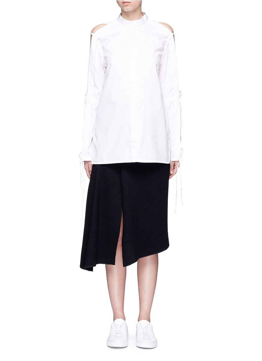 Tie open back slit sleeve shirt by Dion Lee