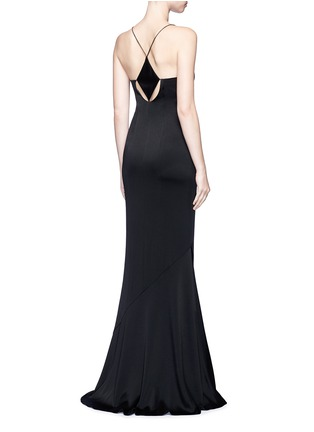 Back View - Click To Enlarge - Galvan London - Beaded spaghetti strap diamond cutout gown