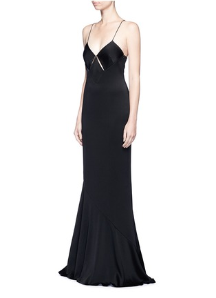 Front View - Click To Enlarge - Galvan London - Beaded spaghetti strap diamond cutout gown