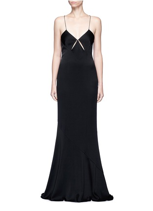 Main View - Click To Enlarge - Galvan London - Beaded spaghetti strap diamond cutout gown