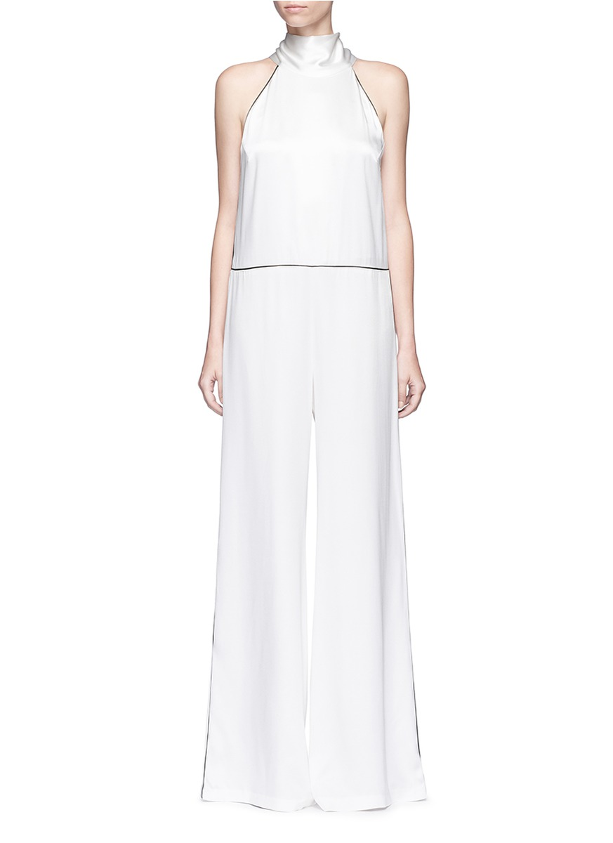 Sash neck piped satin jumpsuit by Galvan London