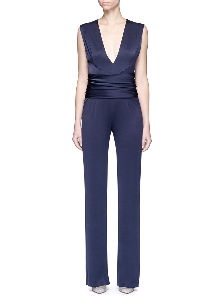 Signature Wrap satin-crepe sleeveless jumpsuit by Galvan London
