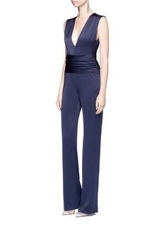 Galvan London'Signature Wrap' satin-crepe sleeveless jumpsuit