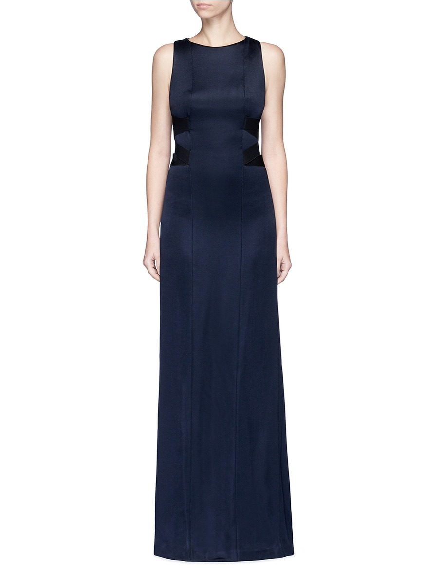Crisscross elastic strap jersey maxi gown by Galvan London