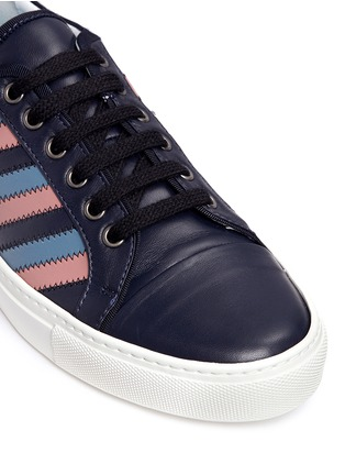 Detail View - Click To Enlarge - Lanvin - Zigzag stripe lambskin leather sneakers