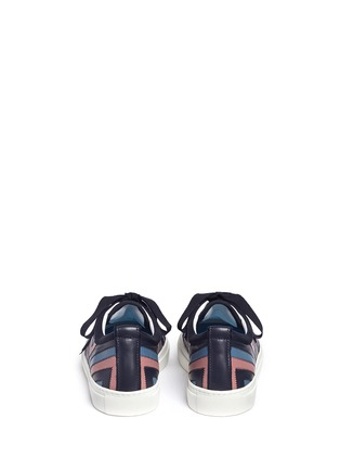 Back View - Click To Enlarge - Lanvin - Zigzag stripe lambskin leather sneakers