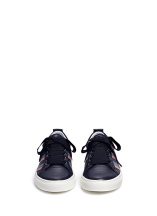 Front View - Click To Enlarge - Lanvin - Zigzag stripe lambskin leather sneakers