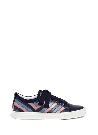 Main View - Click To Enlarge - Lanvin - Zigzag stripe lambskin leather sneakers