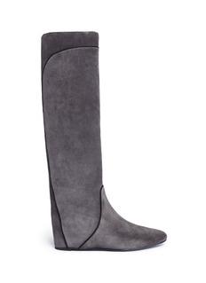 LanvinConcealed wedge heel grosgrain trim suede boots
