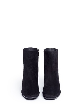 Front View - Click To Enlarge - René Caovilla - Strass pavé suede boots