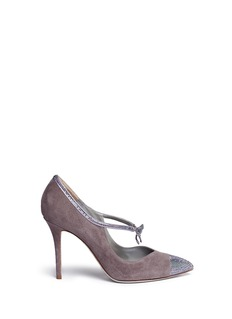 René Caovilla Strass pavé bow Mary Jane suede pumps