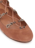 Graduating eyelet suede lace-up ghillie flats