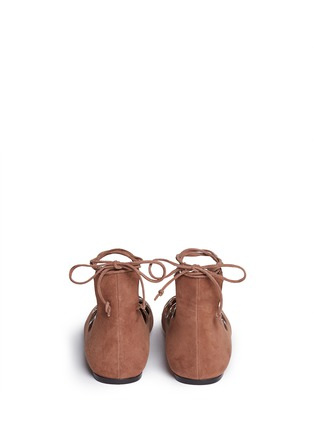 Back View - Click To Enlarge - Alaïa - Graduating eyelet suede lace-up ghillie flats