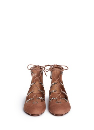 Front View - Click To Enlarge - Alaïa - Graduating eyelet suede lace-up ghillie flats