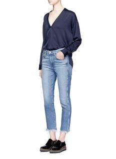 Vince'Crossover Vee' V-neck silk georgette blouse
