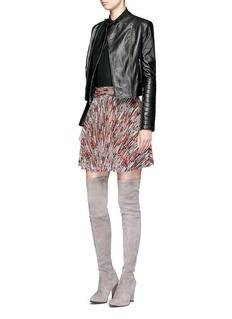 alice + olivia'Felipa' bow collar stretch silk shirt