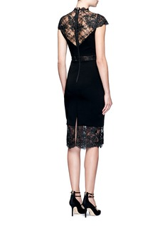 alice + olivia 'Kim' sheer lace insert midi dress