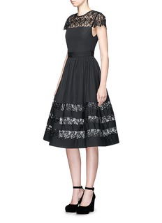 alice + olivia 'Mallie' floral guipure lace panel flare dress
