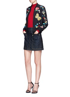 alice + olivia'Felisa' floral and butterfly embroidered silk bomber jacket