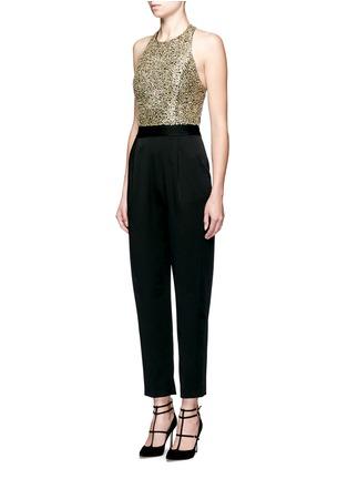 Front View - Click To Enlarge - alice + olivia - 'Jeri' sequin embellished T-back jumpsuit