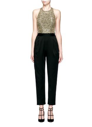 Main View - Click To Enlarge - alice + olivia - 'Jeri' sequin embellished T-back jumpsuit