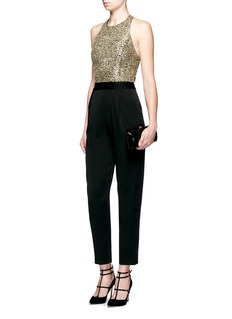 alice + olivia 'Jeri' sequin embellished T-back jumpsuit