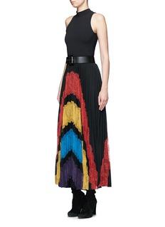 alice + olivia'Romona' floral lace insert pleated maxi skirt
