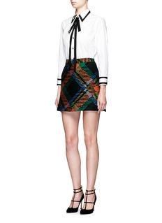 alice + olivia'Jessa' wool-mohair plaid A-line skirt