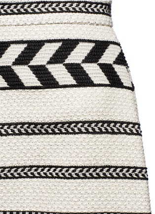 Detail View - Click To Enlarge - alice + olivia - 'Dayso' front slit tribal stripe jacquard skirt
