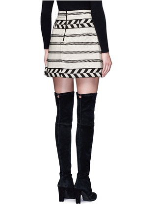 Back View - Click To Enlarge - alice + olivia - 'Dayso' front slit tribal stripe jacquard skirt