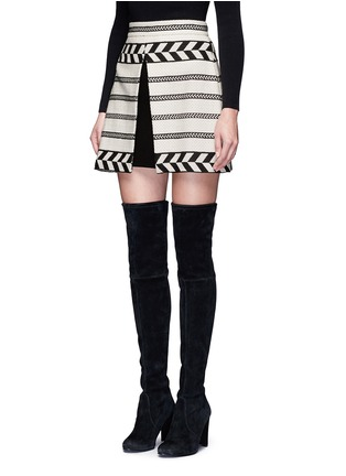 Front View - Click To Enlarge - alice + olivia - 'Dayso' front slit tribal stripe jacquard skirt
