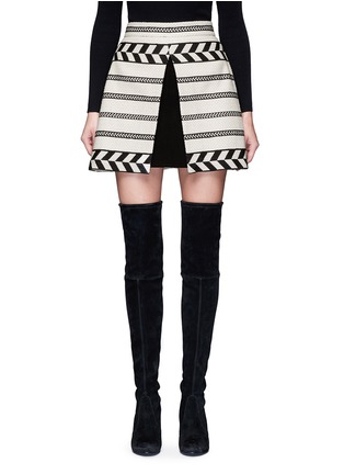 Main View - Click To Enlarge - alice + olivia - 'Dayso' front slit tribal stripe jacquard skirt