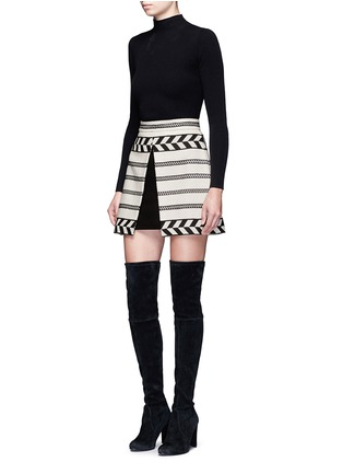 Figure View - Click To Enlarge - alice + olivia - 'Dayso' front slit tribal stripe jacquard skirt