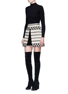 alice + olivia'Dayso' front slit tribal stripe jacquard skirt