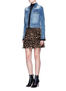 alice + olivia'Bea' leopard print devoré velvet circle skirt